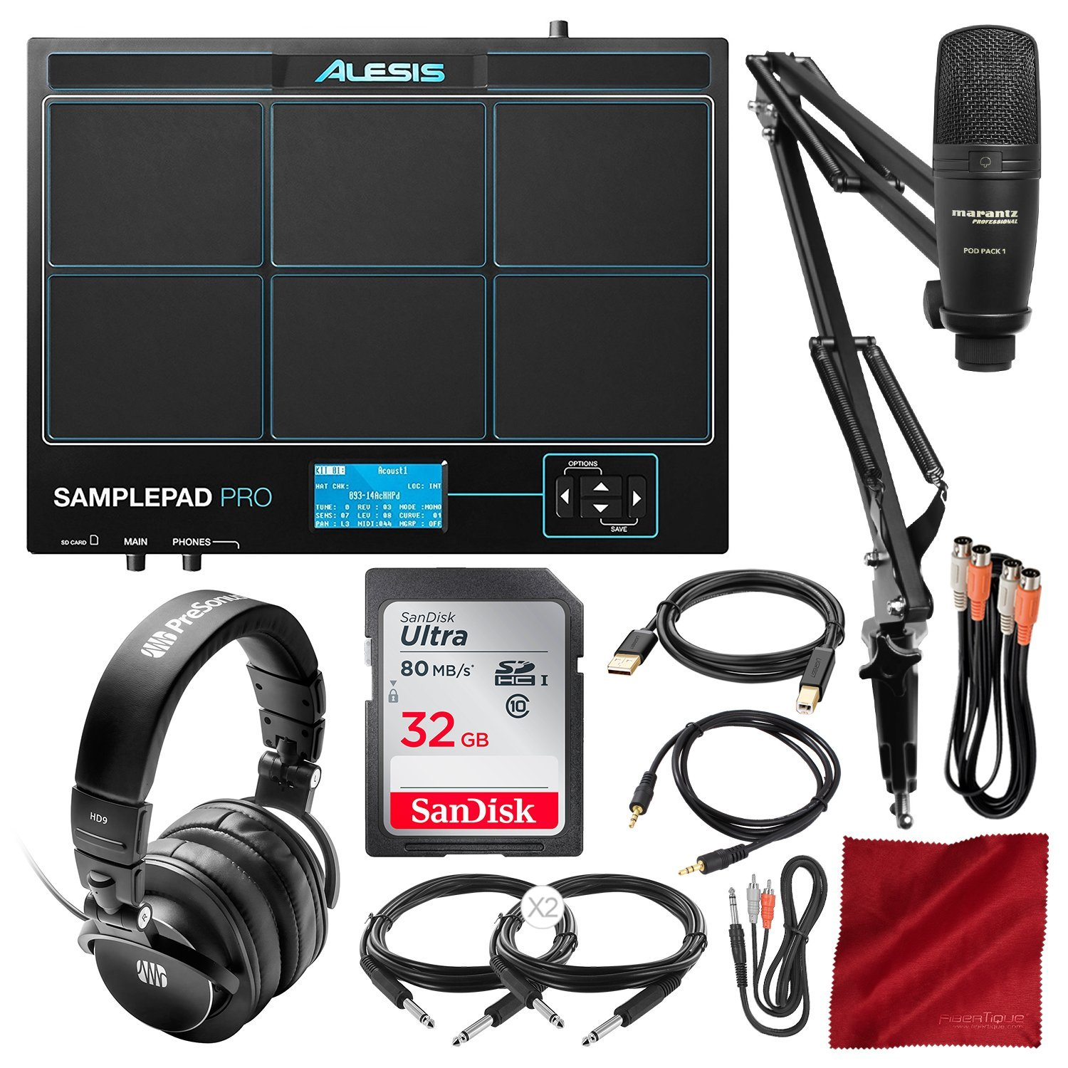 Alesis Sample Pad Pro 8-Pad Percussion and Triggering Instrument with Marantz Pod Pack 1 Broadcast Arm USB Mic Kit, PreSonus Headphones, and Assorted Cables Bundle
