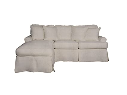 Sunset Trading Slipcovered Sleeper Sofa With Chaise Lounge, Light Gray