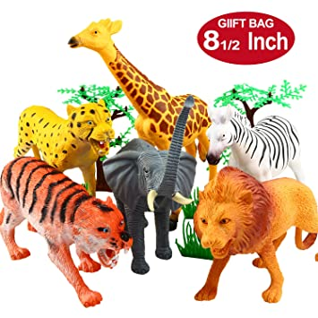 Amazon Com Animal Figure 8 Inch Jumbo Jungle Animal Toy Set 12