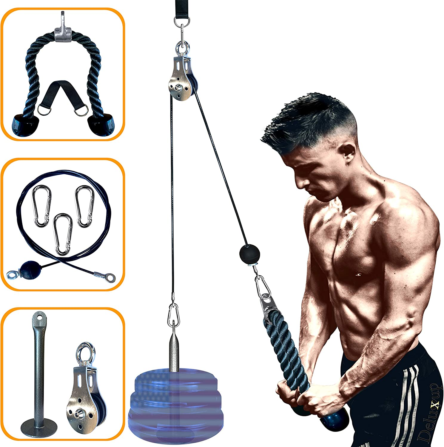 DELUXUP LAT Pull Down Machine, Great Weight Pulley Cable System for Home Gym & Fitness Workout with tricep Pull Down Rope Included! Pulldown for Exercise Your LAT,Tricep & Biceps, Easy Set Up and Use