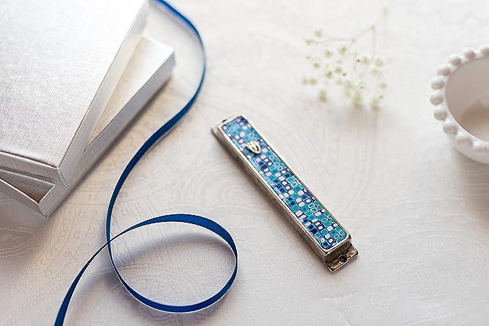 Mezuzah with Kosher Scroll For Bar-Mitzvah Gift, Blue Mezuzah Case A Jewish Housewarming Gift with Retro pattern, Handmade Gift Mezuzah Art By Israeli ...