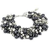 Nina 'Peony' Charcoal Glass Pearl and Crystal Bracelet