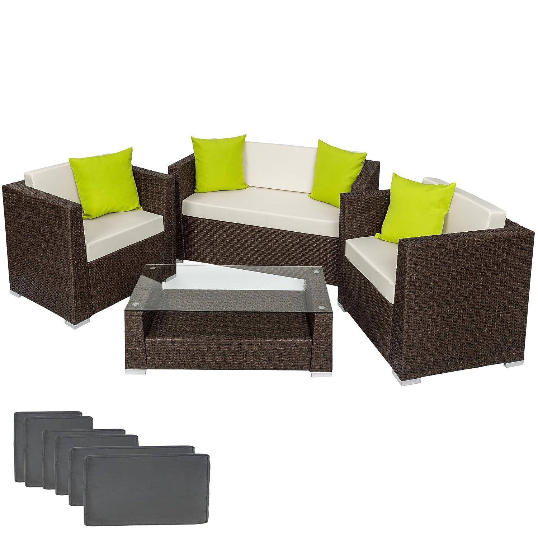 TecTake Hochwertige Alu Luxus Lounge Set Poly-Rattan Sitzgruppe antik braun mit 2 Bezugsets und 4 extra Kissen inkl. Edelstahlschrauben