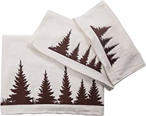 HiEnd Accents Clearwater Pines Lodge 3-PC Rustic Cotton Bath Towel Set, Cream
