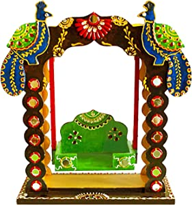"Ritwika's Indian Decorative Baby Krishna Jhula Handcrafted Wooden Showpiece Hut/Indian Handmade Christmas, Diwali Home Decoration Multi-Purpose Wooden Swing Jhula Temple. (Brown 2, 13"" x 10"")"