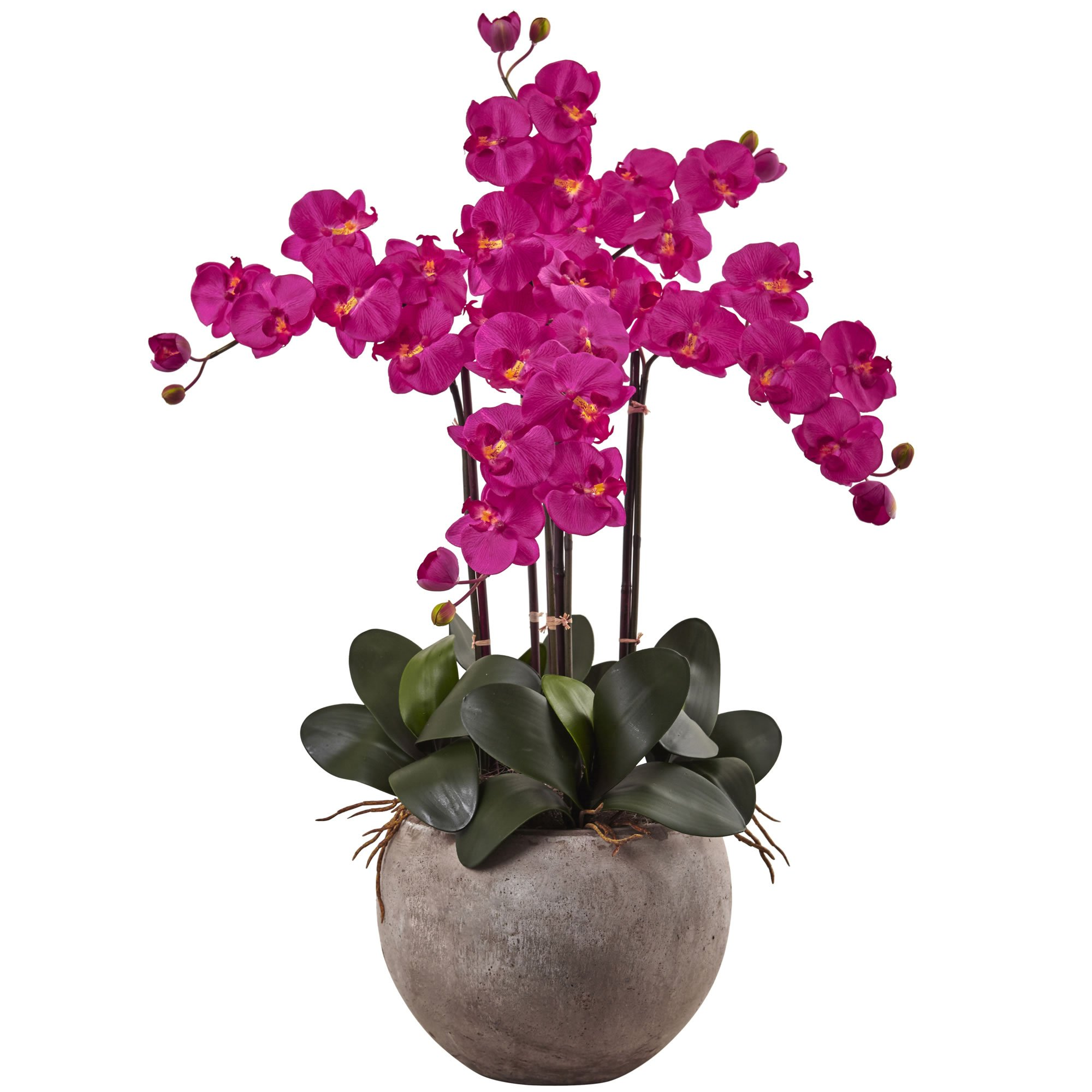 SKB Family Phalaenopsis Orchid Arrangement With Sand Colored Bowl Natural Silk Floral