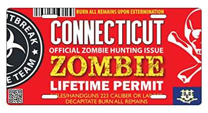 Connecticut Zombie Hunting Permit Bumper Sticker