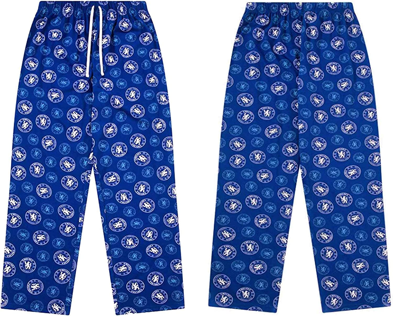 100/% Cotton Pyjama Bottoms Official Adults Chelsea FC Soccer Lounge Pants