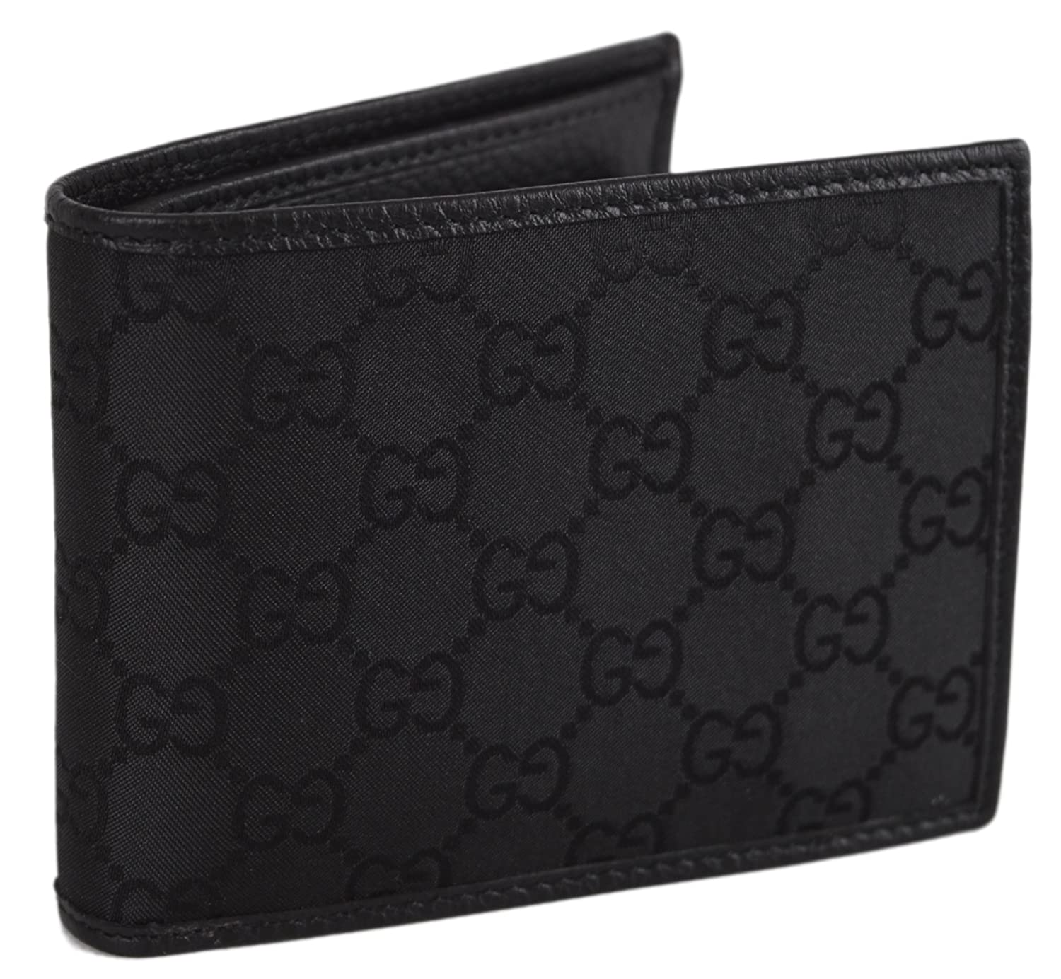 18a44e77729 Amazon.com  Gucci Men s 143384 Black Nylon GG Guccissima Coin Pocket Bifold  Wallet  Clothing