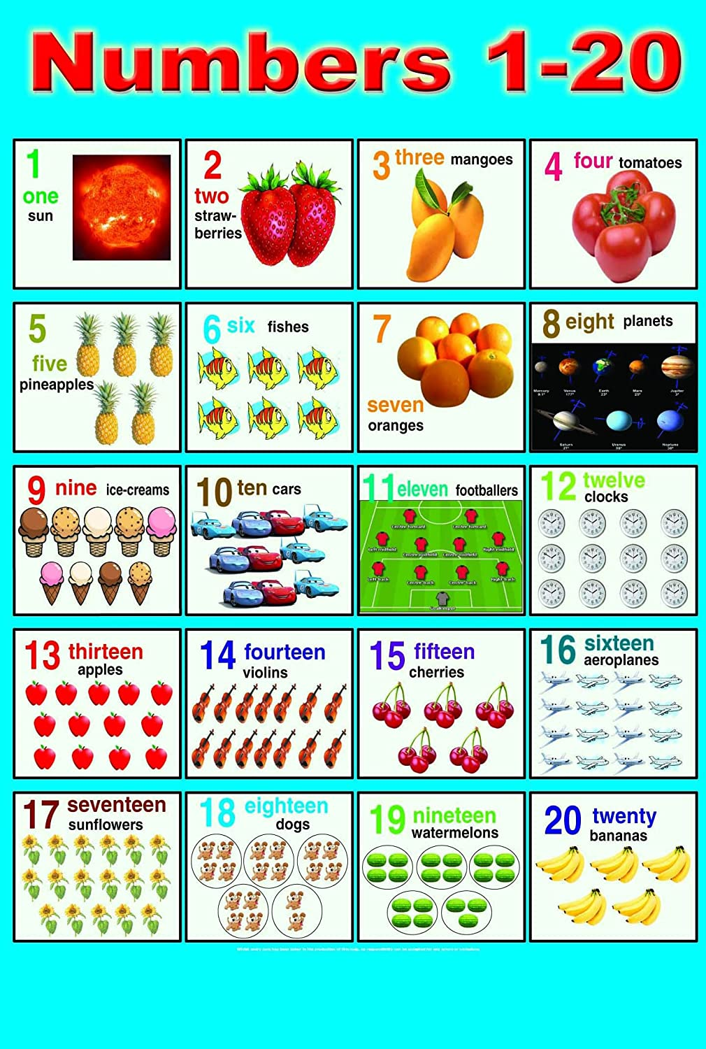 laminated numbers 1 20 poster children early learning