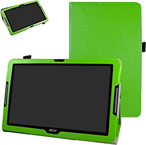 """Acer Iconia One 10 B3-A30 Case,Mama Mouth PU Leather Folio 2-Folding Stand Cover with Stylus Holder for 10.1"""" Acer Iconia One 10 B3-A30 Android Tablet, Green"""