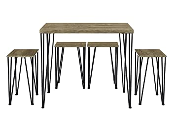 Abington Lane Kitchen Table Set with 4 Stools - Versatile, Tall, Modern  Table Set for Kitchen, Dining Room, and Living Room (Rustic Oak)