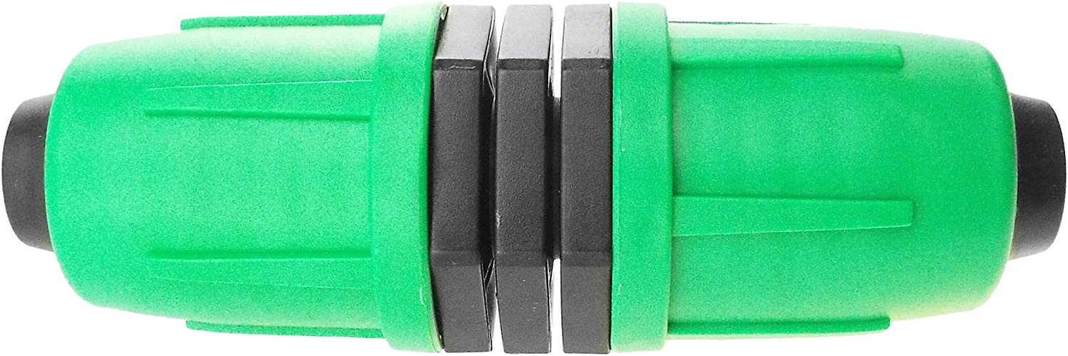 PUSH /& LOCK Simple to use irrigation fittings that will NOT BLOW OFF just push the pipe in and twist the green cap to lock and even better if you need to remove just reverse the procedure. bung x2
