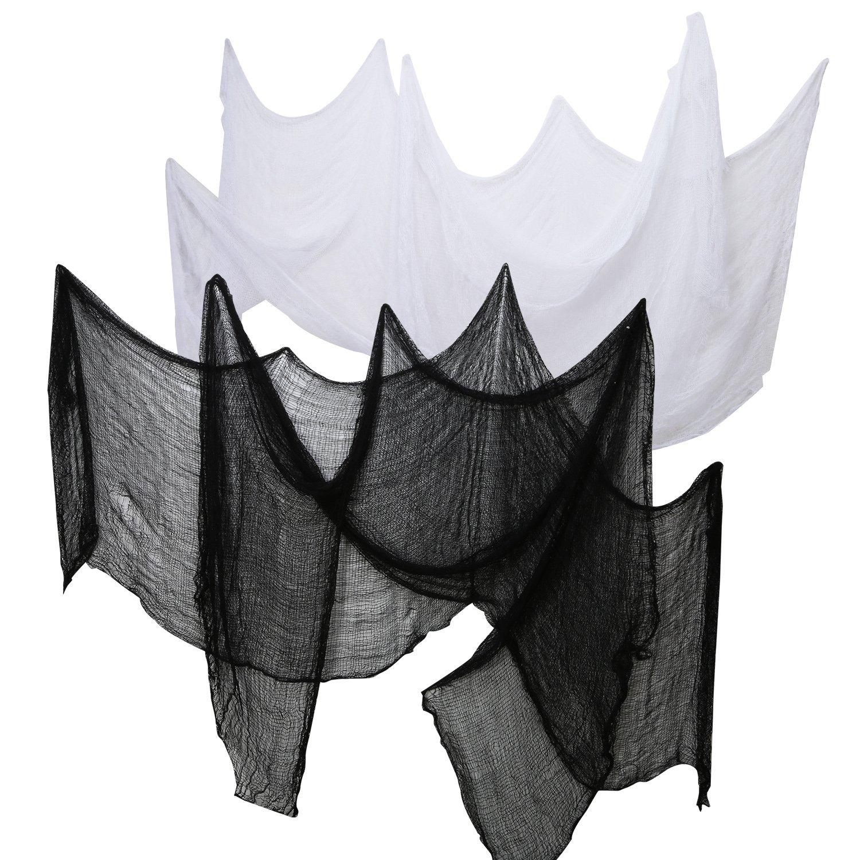 4 Pièces Halloween Tissu Effrayant Tissu Décor de Fête Rideaux de Porte Couverture de Fenêtres Gauze 2.2 Yards x 30 Pouces Comprendre 2 Couleurs (2 Noir et 2 Blanc) Pangda