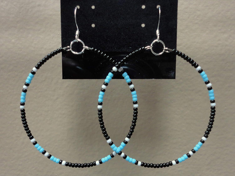 Native American Beaded Blue Turquoise Black 2 Hoop Earrings