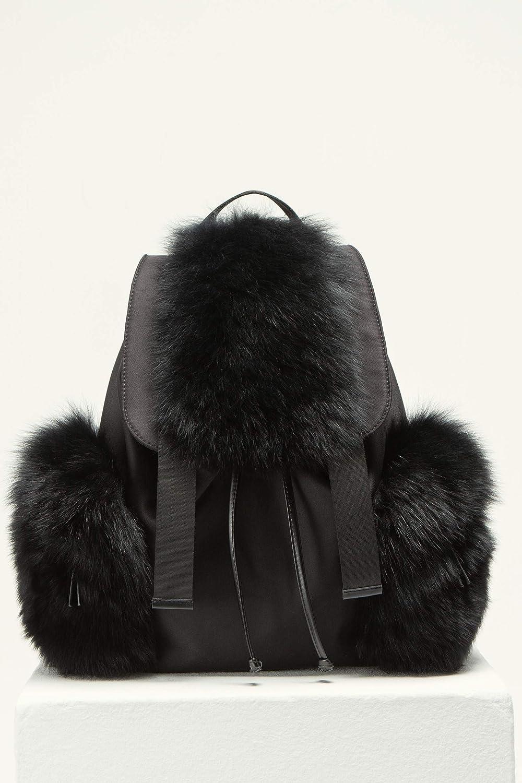 (マックス&モイ) MAX&MOI Fox fur Backbag キツネの毛皮バック (並行輸入品) B07KTNXJJD ブラック One Size