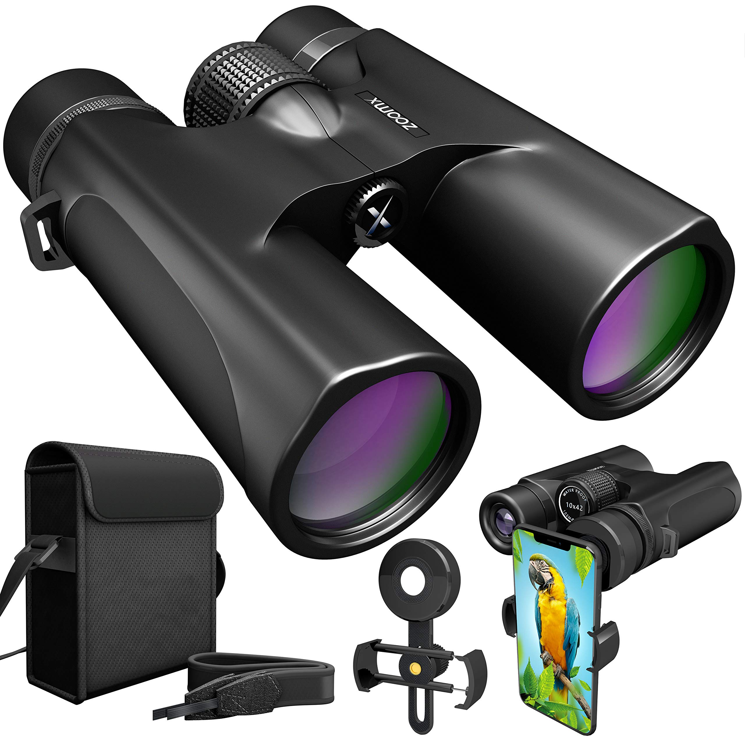Waterproof 10x42 Binoculars For Adults. Lightweight Compact Binoculars 10x42 Prism BAK4. HD Binocular For Bird Watching Hunting Traveling And Sightseeing With Smartphone Adapter by ZoomX