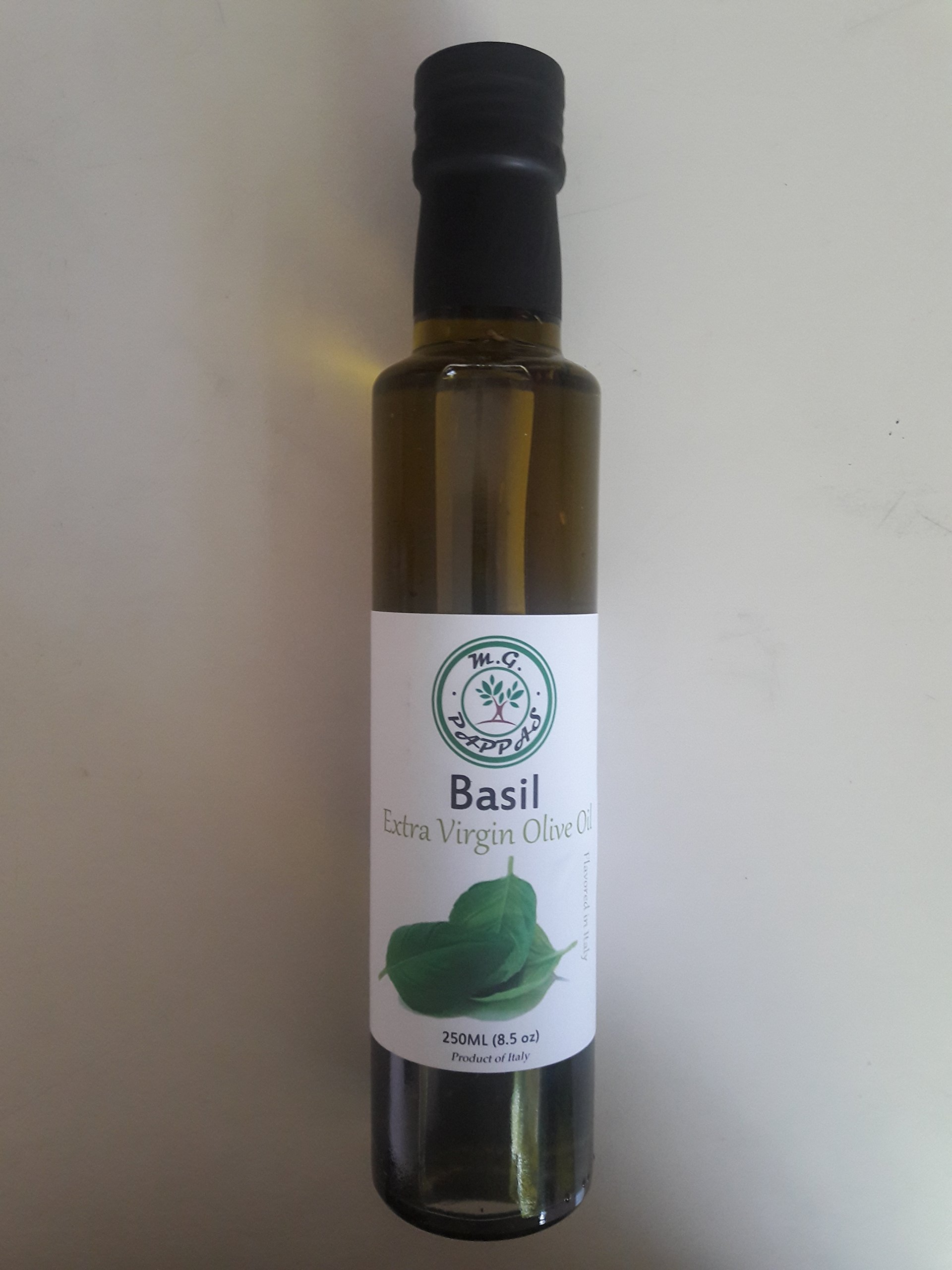 M.G. PAPPAS Basil Infused Olive Oil EVOO Extra Virgin Olive Oil Fresh First Cold Pressed 100% Italian Premium Gourmet Taste Diet Foods Herb Single Origin 8.45 fl. Oz 250 ml 1 100% ITALIAN EXTRA VIRGIN OLIVE OIL: M. G. PAPPAS uses First Cold Pressed EVOO which gives minimum acidity and great oil taste. Also, our Basil Infused Olive Oil includes all the Healthy Benefits that only Extra Virgin Olive Oil can offer. All of our infused extra virgin olive oils are produced, infused and packaged at our facility in Italy. WE INFUSE WITH 100% REAL NATURAL INGREDIENTS : Basil Infusion is All Natural and comes from Basil Leaves. No Artificial Flavors, No Fillers, No Additives, No Colorants, No Preservatives, Gluten and Cholesterol Free. GREAT GIFT IDEA : Give this amazing product to your family and friends. This is a 250ml glass bottle of a Healthy source of vitamins and Mediterranean taste. Serving Size 1 Tablespoon (15ml). Enjoy!!