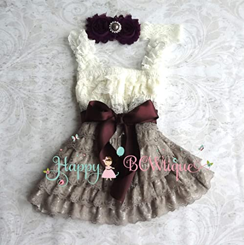eb9dc2956 Image Unavailable. Image not available for. Color: Ivory Grey Dark Plum  Baby Girl's Lace Dress set ...