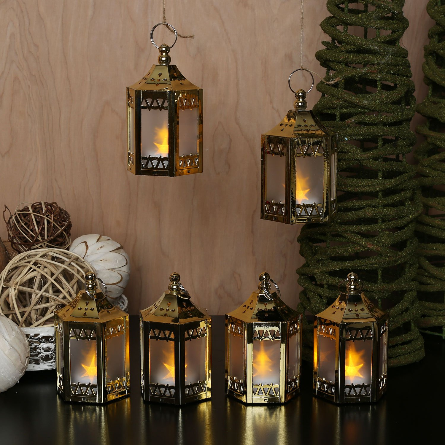 "6 Gold Mini Holographic Star Lanterns, 4.5"", Warm White LEDs, Batteries Included"