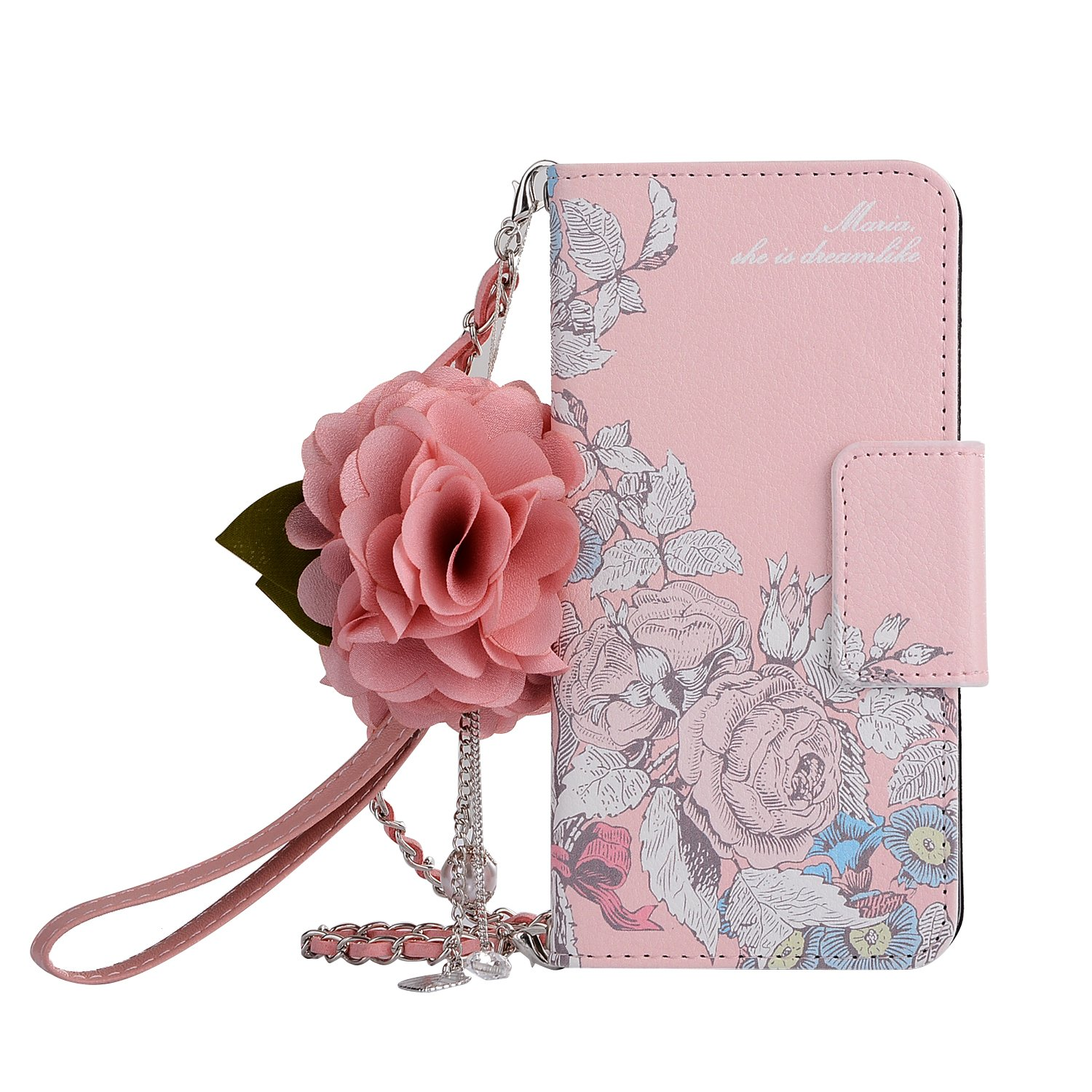 Leather Wallet Case iPhone 6, iPhone 6S Women HandBag Case with Chian, Gostyle Fashionable Luxury Clourful Rose Flower Pattern PU Flip Magnetic Case with Credit Card Holder and Wristlet Strap.