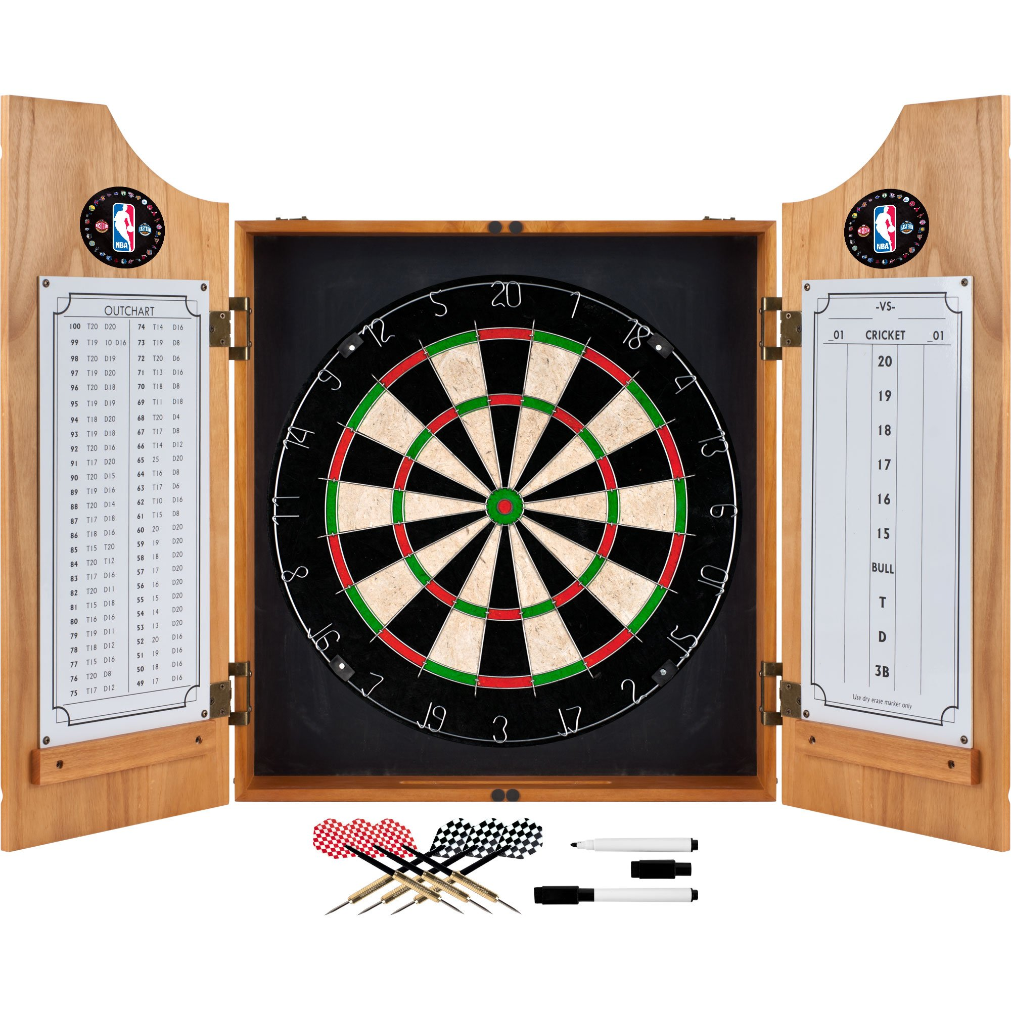 Trademark Games NBA Wood Dart Cabinet Set