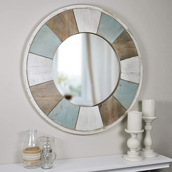 "FirsTime & Co. 70022 Cottage Timbers Accent Wall Mirror, 27"", Aged Teal/Shabby White/Natural Wood"