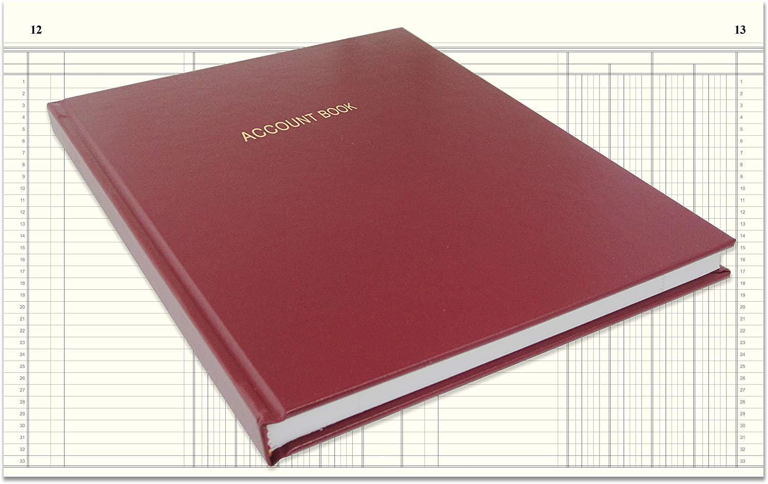 "BookFactory Account Book/Ledger Book/Accounting Ledger/Account Notebook (4 Column Columnar Book Format) - 96 Pages, 8"" x 10"", Burgundy Cover, Smyth Sewn Hardbound (ACT-096-S4CM-A-LMT16)"