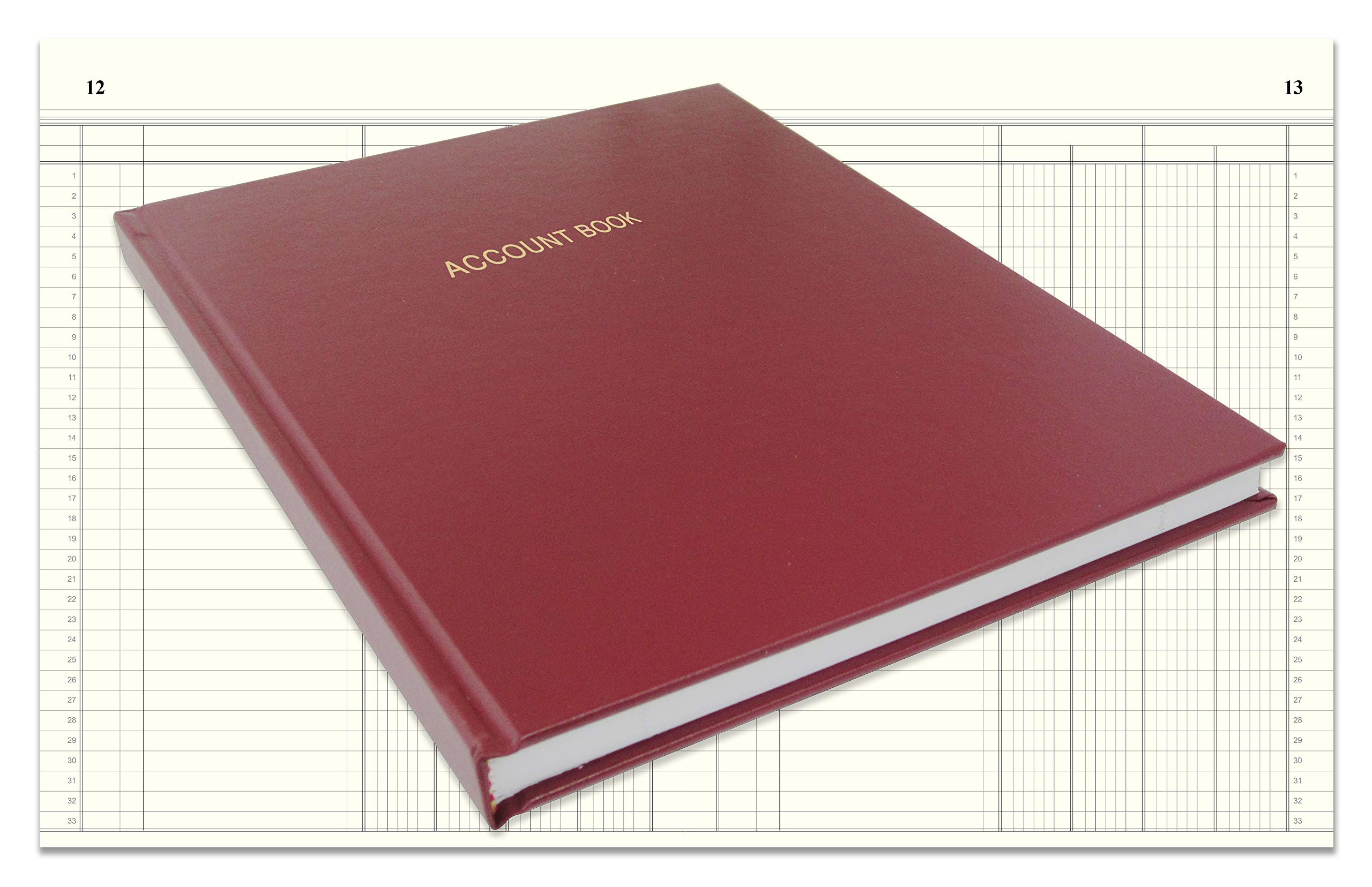 BookFactory Account Book/Ledger Book/Accounting Ledger/Account Notebook (4 Column Columnar Book Format) - 96 Pages, 8'' x 10'', Burgundy Cover, Smyth Sewn Hardbound (ACT-096-S4CM-A-LMT16) by BookFactory