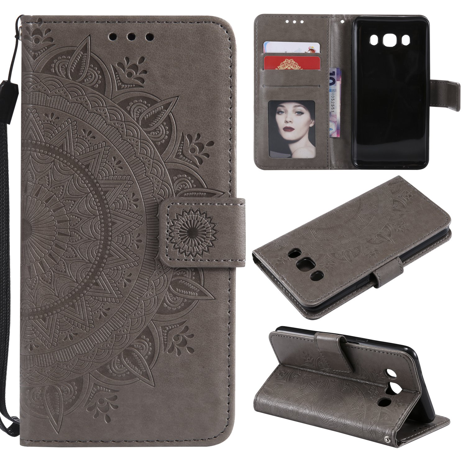Galaxy J7 2016 Floral Wallet Case,Galaxy J7 2016 Strap Flip Case,Leecase Embossed Totem Flower Design Pu Leather Bookstyle Stand Flip Case for Samsung Galaxy J7 2016-Grey