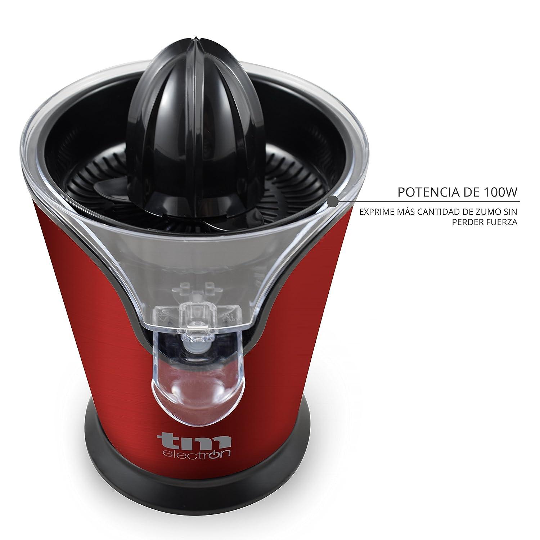 Tm Electron TMPEX008R Exprimidor eléctrico de cítricos con sistema antigoteo 100 W, Acero Inoxidable, Rojo: Amazon.es: Hogar