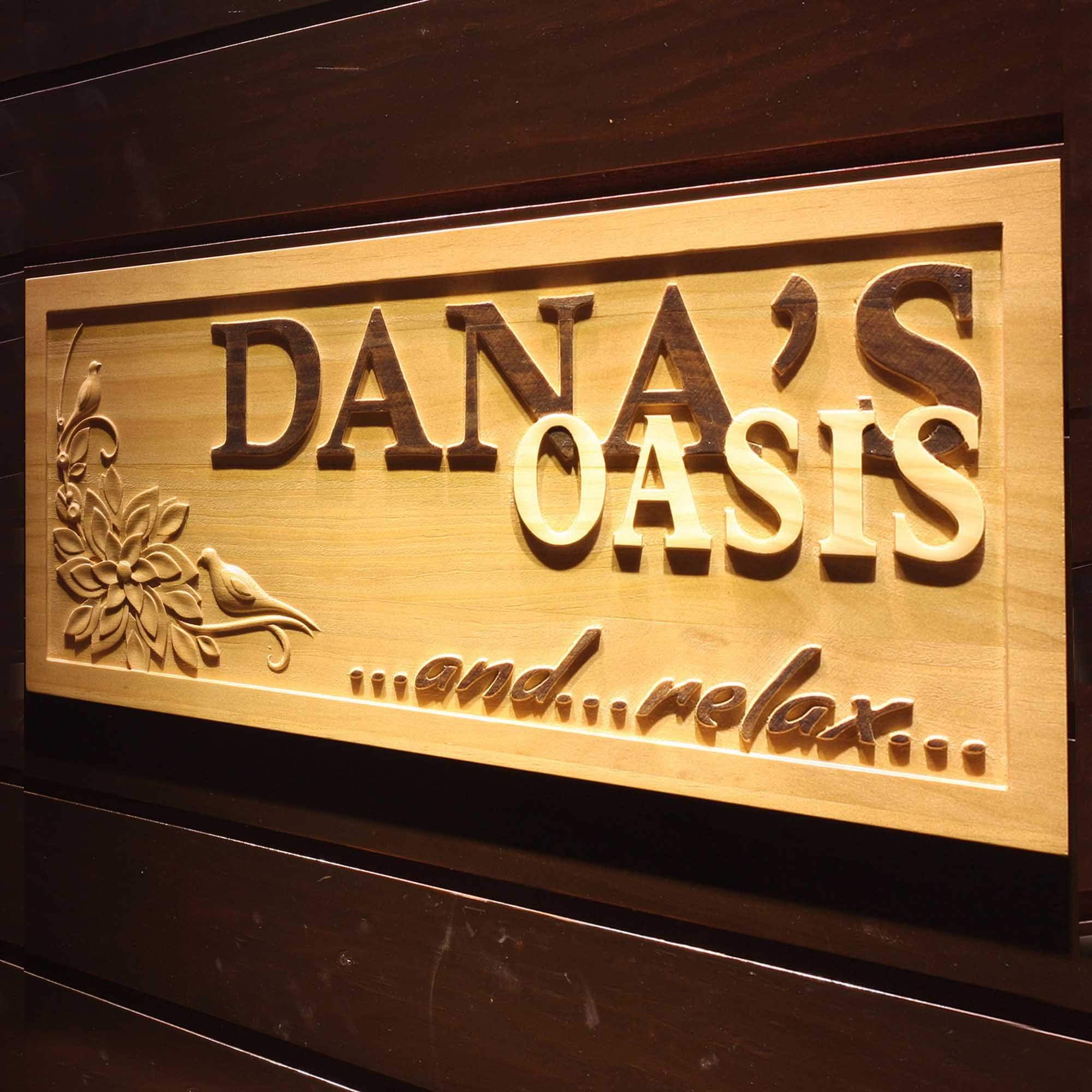ADVPRO wpa0107 Name Personalized Oasis and Relax Bar Spa Room Décor Woman Room 3D Engraved Wooden Sign - Standard 23'' x 9.25''