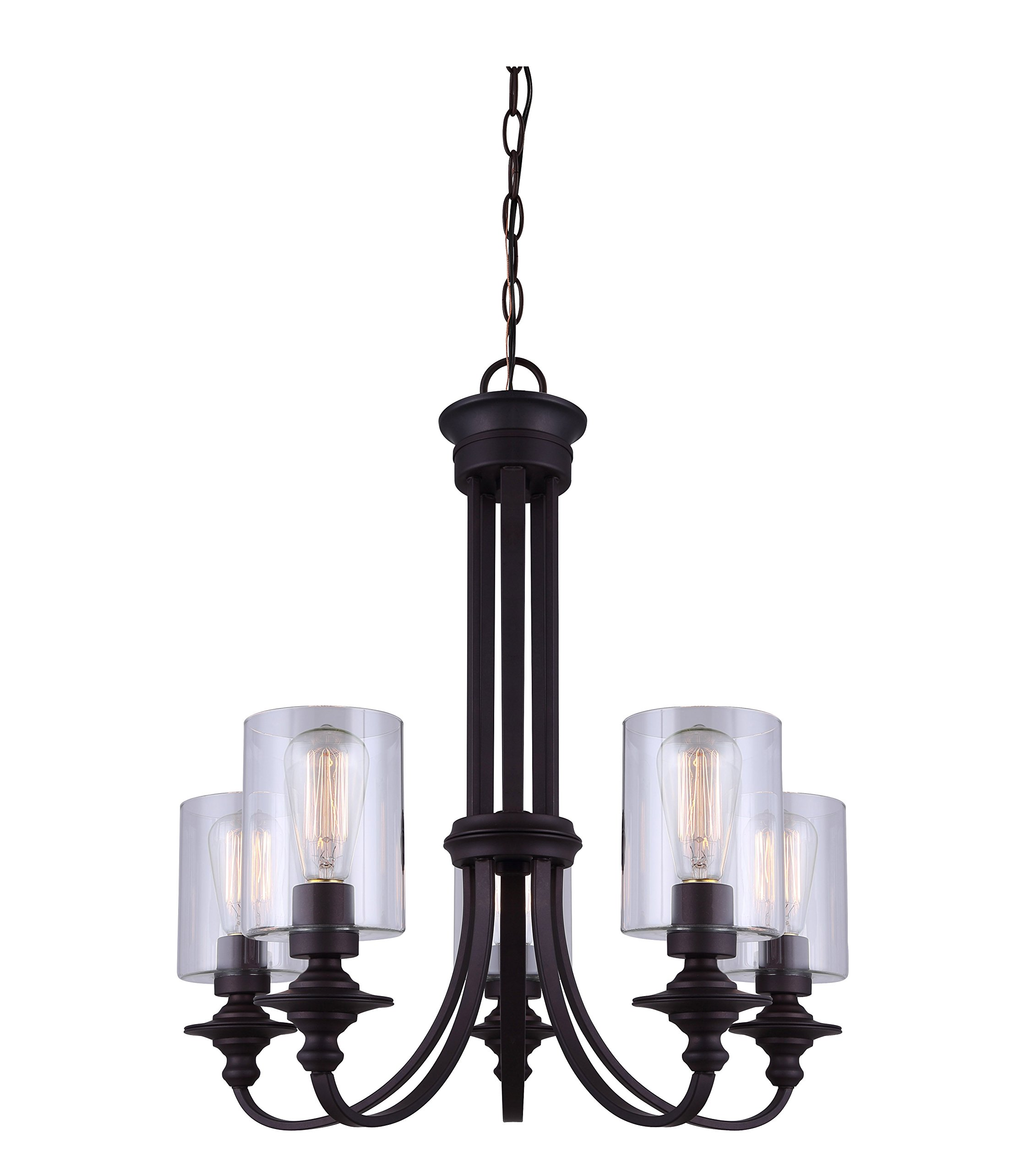 "CANARM ICH586A05ORB York 5 Light Chain Chandelier with Clear Glass, 25.59"" x 14.75"" x 14.17"", Oil Rubbed Bronze - Contemporary styling in Oil Rubbed Bronze finish Clear glass Uses 5 100W Type a bulbs (not included) looks great with vintage style bulbs. - kitchen-dining-room-decor, kitchen-dining-room, chandeliers-lighting - 81HPXecb6FL -"