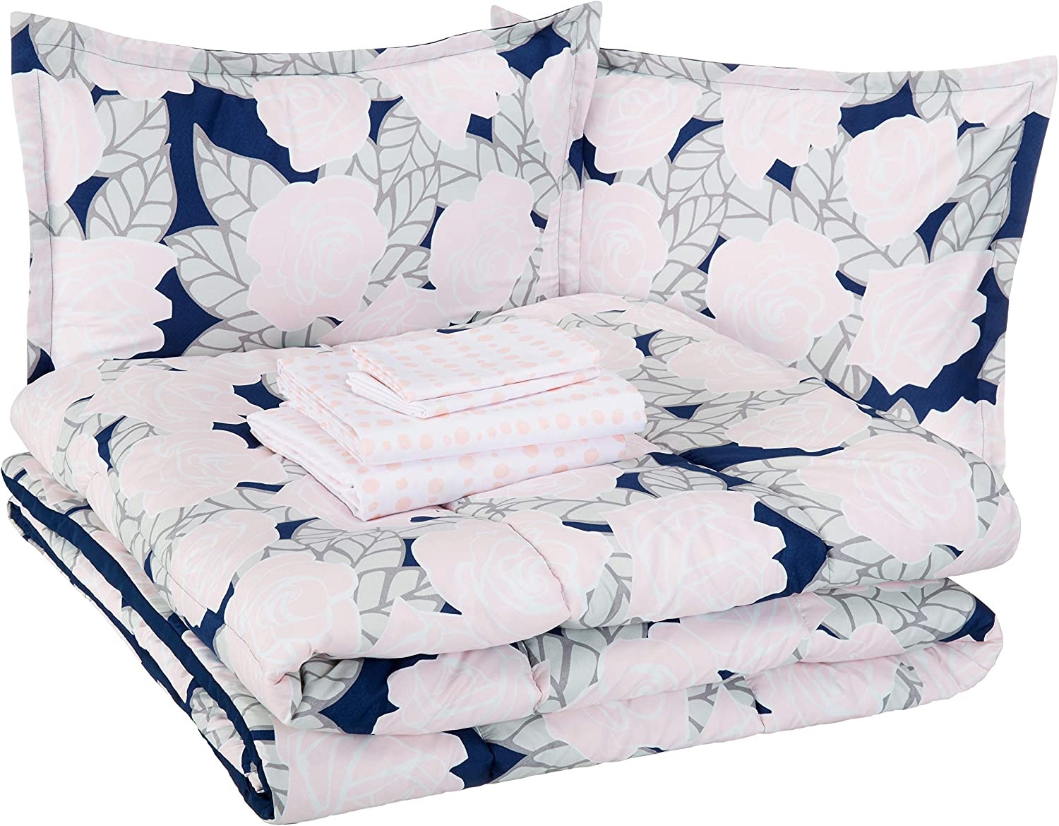 AmazonBasics Easy Care Super Soft Microfiber Kid's Bed-in-a-Bag Bedding Set - Full / Queen, Pink Flowers