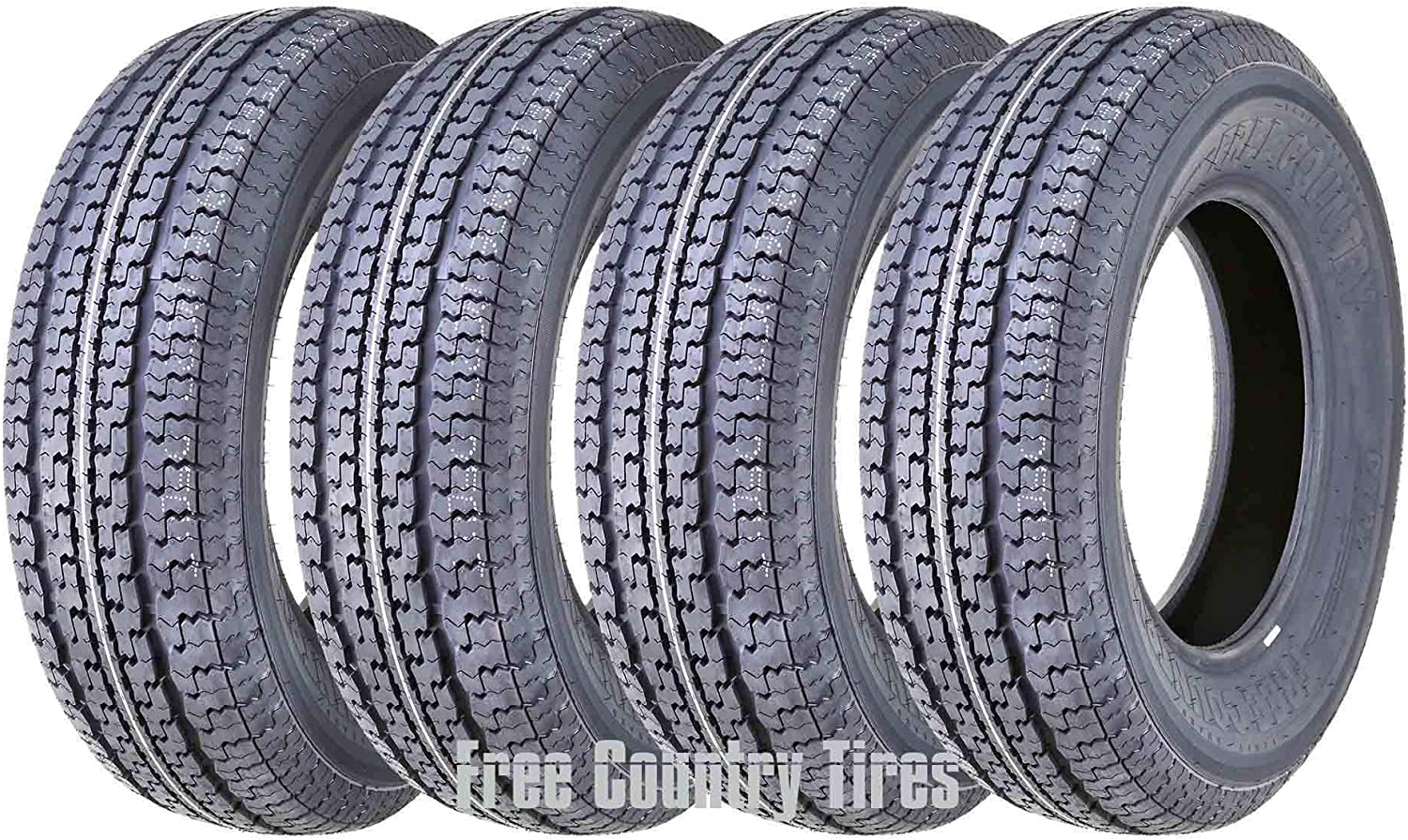 FREE COUNTRY Set 4 Premium Trailer Tires ST205/75R15 8PR Load Range D Radial w/Scuff Guard