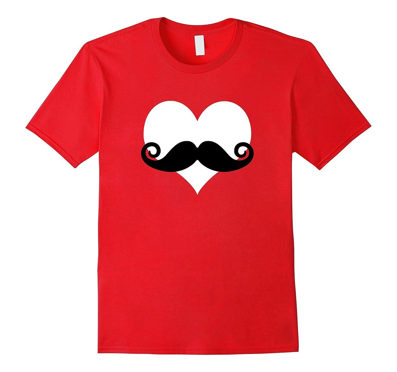 Kids Mustache Heart Valentines T Shirt-Awarplus