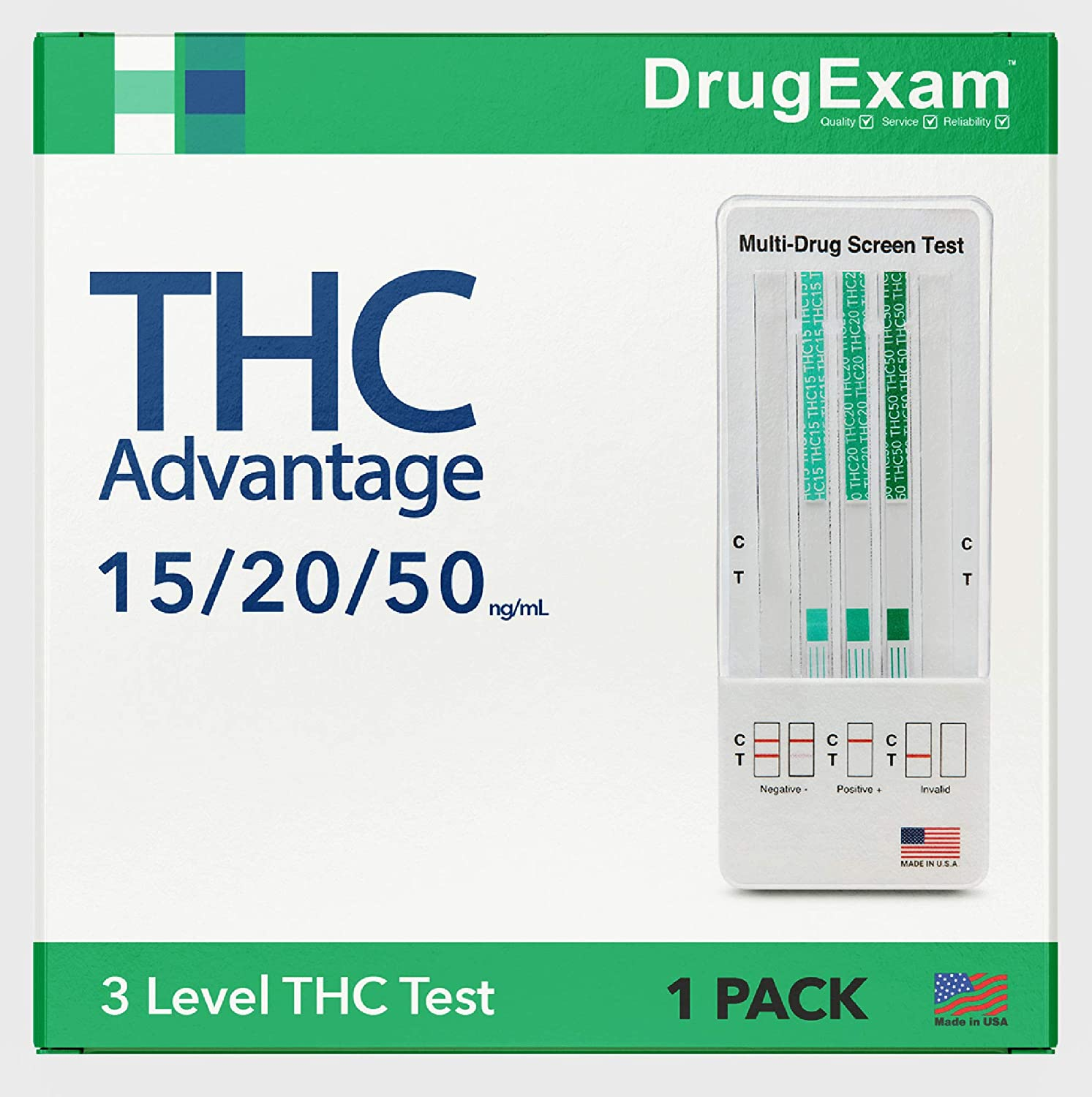 1 Pack - DrugExam THC Advantage Made in USA Multi Level Marijuana Home Urine Test. Highly Sensitive Marijuana THC 3 Level Drug Test Kit. Detects at 15 ng/mL, 20 ng/mL and 50 ng/mL (1)