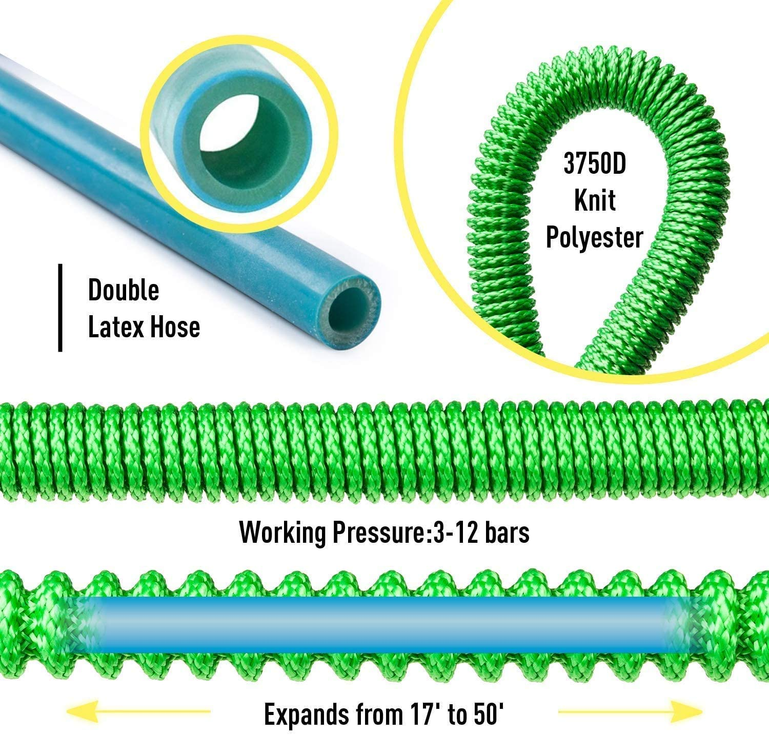 Garden Hose 25-100ft Expandable Garden Hose, Kink-Free Flexible Water Hose with 7-Pattern Spray Nozzle, green,50ft 100ft