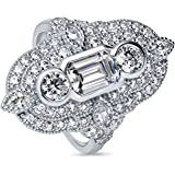 BERRICLE Rhodium Plated Sterling Silver Cubic Zirconia CZ Art Deco Cocktail Statement Ring