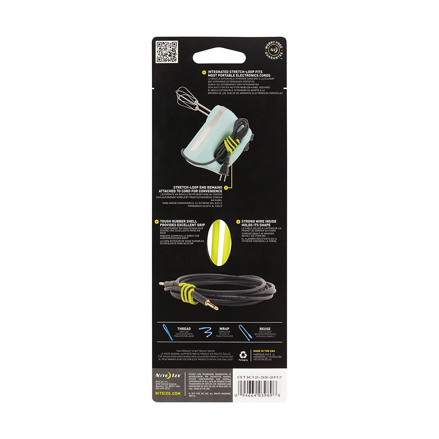 Amazon.com: Nite Ize Gear Tie Cordable, The Orginal Reusable Rubber Twist Tie with Stretch-Loop for Cord Management + Storage, 12-Inch, Neon Yellow, 2 Pack, ...