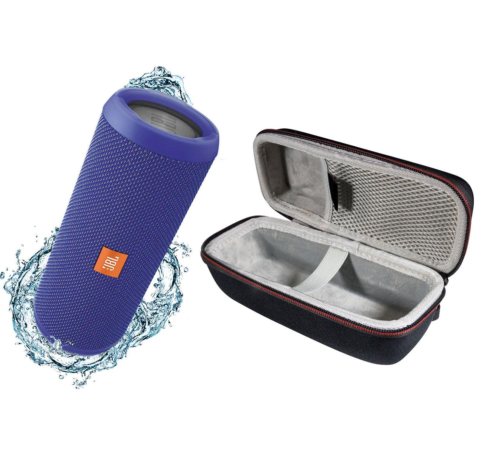 JBL Flip 3 Portable Splashproof Bluetooth Wireless Speaker Bundle with Hardshell Case - Blue