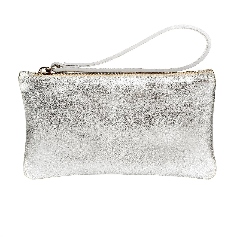 Damen Clutch, Silber - Silver/Emerald - Größe: One Size Pepper Alley
