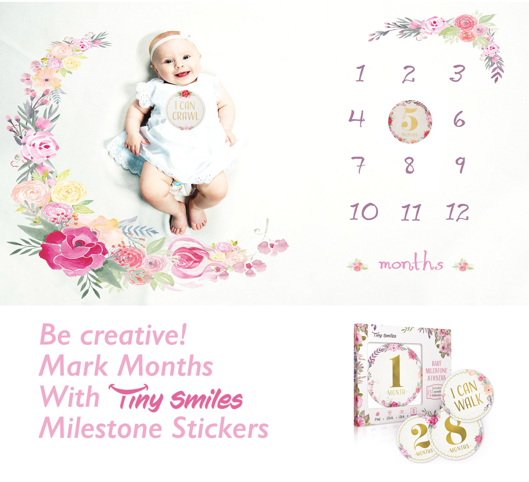 Baby Monthly Milestone Blanket Large 60''x40'' | Bonus Floral Wreath | Soft Photography Background Blanket | Newborn Girls or Boys Photo Prop | Best Baby Shower Gift for New Mom | Months Watch Me Grow by Tiny Smiles (Image #7)