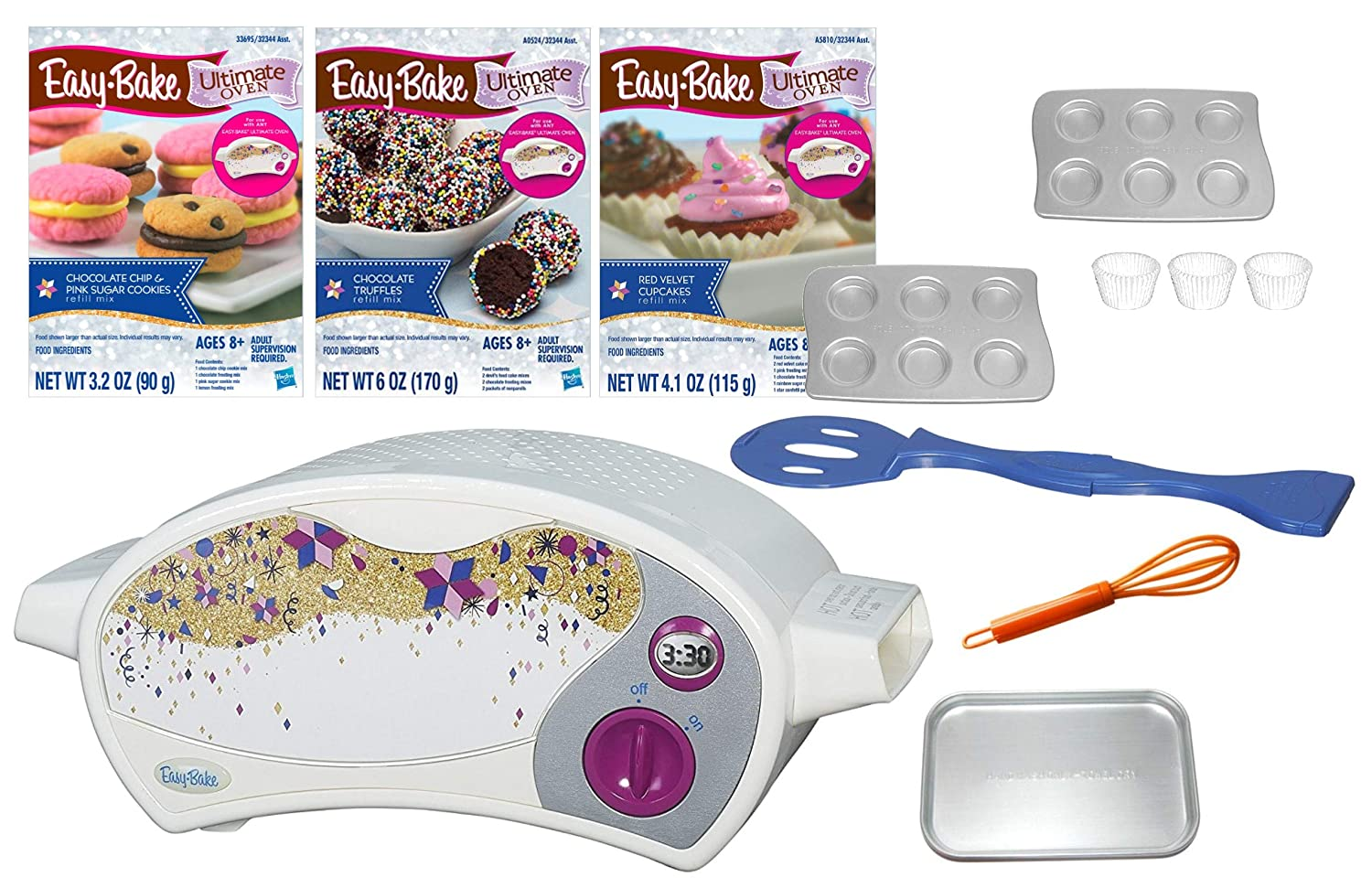 Ultimate Easy Bake Bundle - 1 Baking Star Edition Ultimate Oven , 1 Chocolate Chip & Pink Sugar Cookie Mix,1 Chocolate Truffle Mix, 1 Red Velvet Cupcake Mix + Extra pan, Mini Whisk - 10 Items