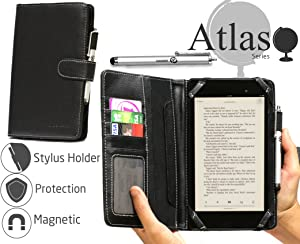 """Navitech 7"""" Black Leather Book Style Folio Case/Cover & Stylus Pen Compatible with The Dell Venue 7 / LG G Pad 7.0"""