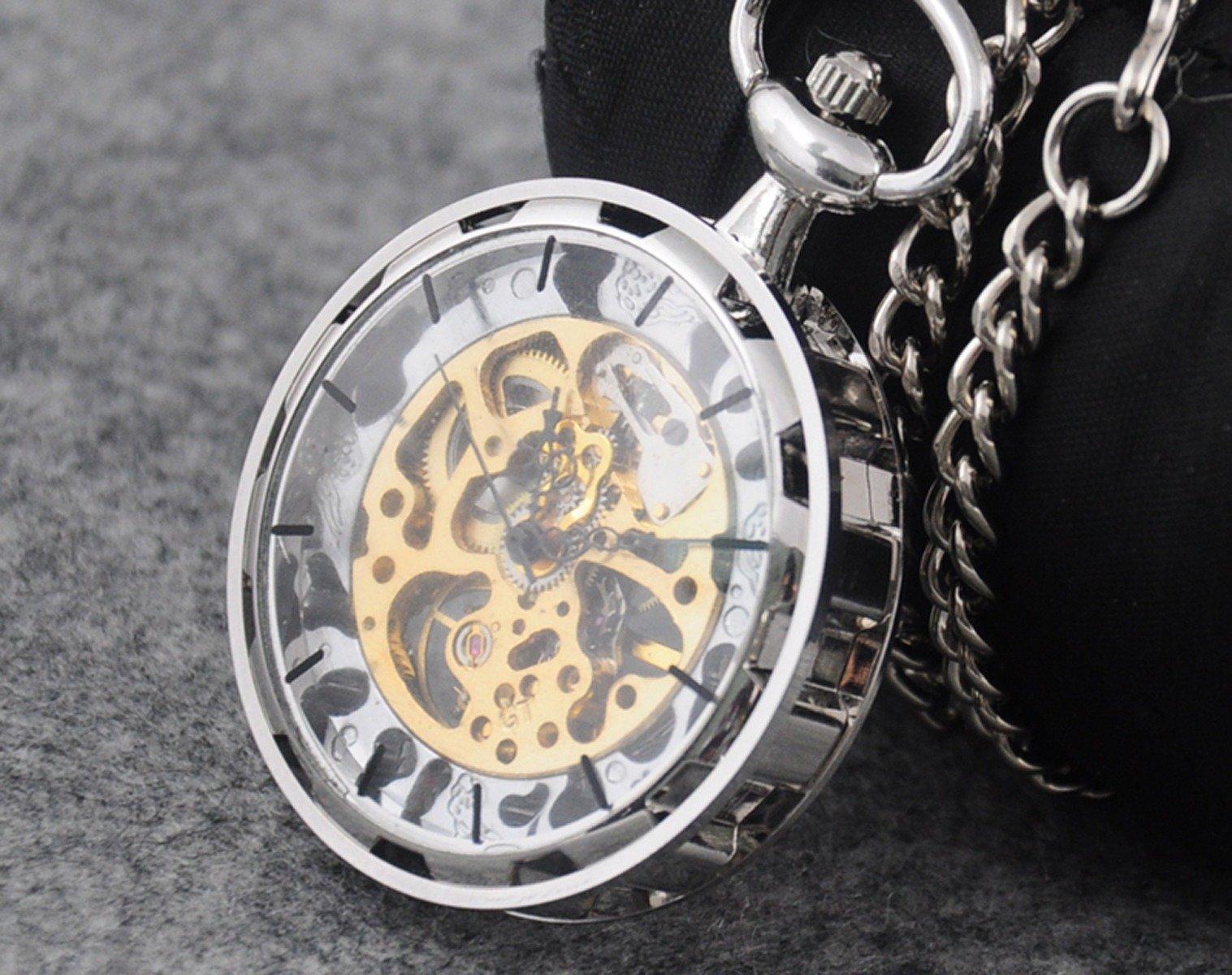 VIGOROSO Mens Classic Steampunk Gold Skeleton Hand Wind Mechanical Pocket Watch by VIGOROSO (Image #4)