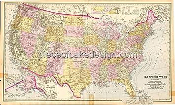 1/4 Sheet ~ Detailed Vintage US Map Birthday ~ Edible Cake/Cupcake ...