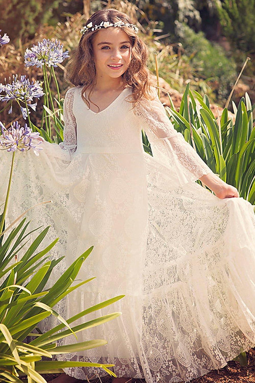 e6e1cd80ea5d3 Babyonlinedress Elégant Robe de Fille Enfant de Mariage d Honneur Soirée  Princesse Noble Col V Longue en Dentelle 1-13 Ans  Amazon.fr  Vêtements et  ...