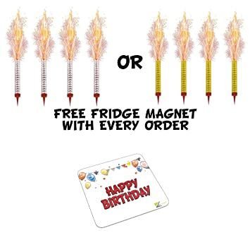 4 Pack Birthday Cake Fountain Candles Fireworks Includes Happy Metal Fridge Magnet