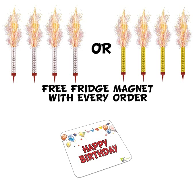 4 Pack Birthday Cake Fountain Candles Fireworks Includes Happy Metal Fridge Magnet Amazoncouk Toys Games